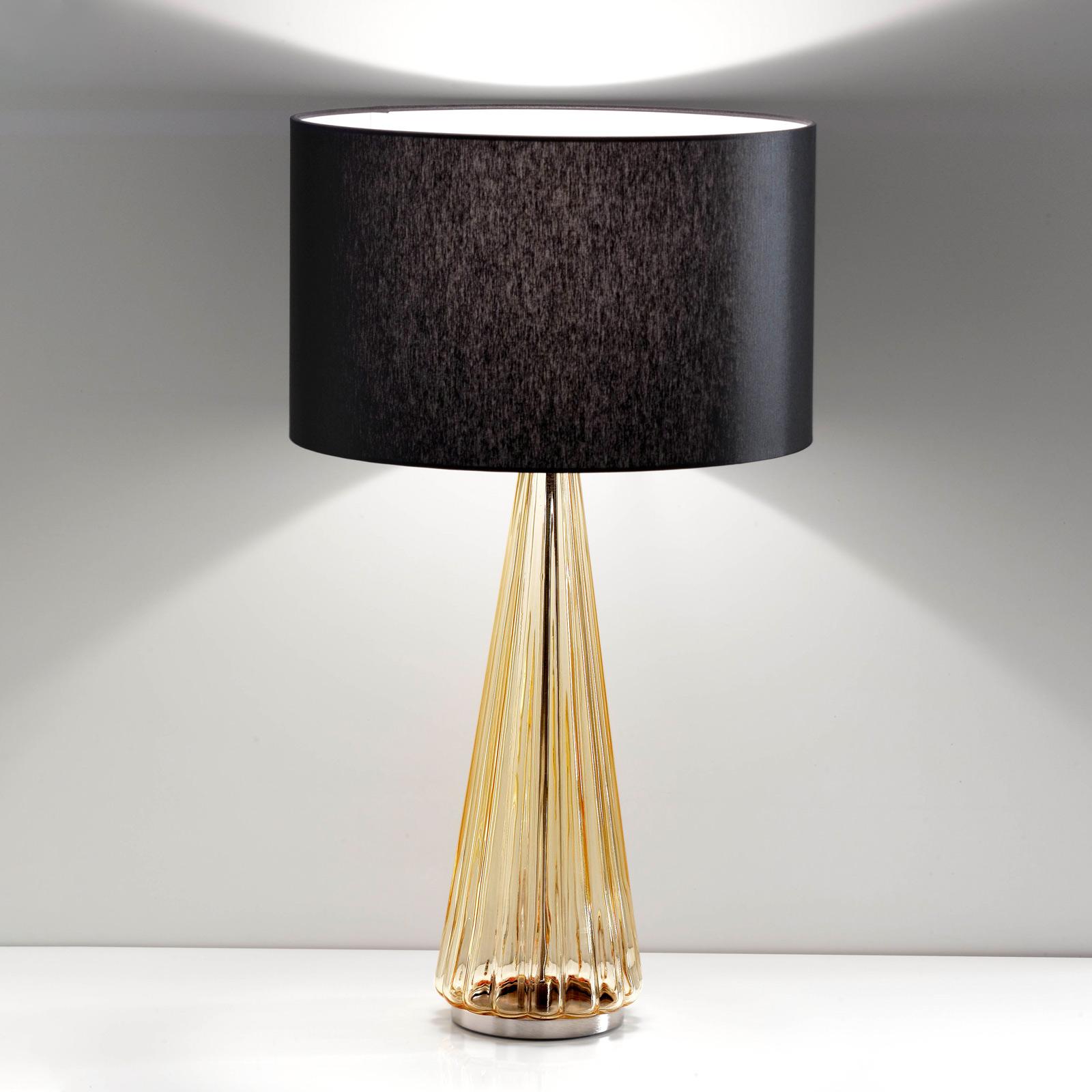 Tafellamp Costa Rica kap zwart, voet amber