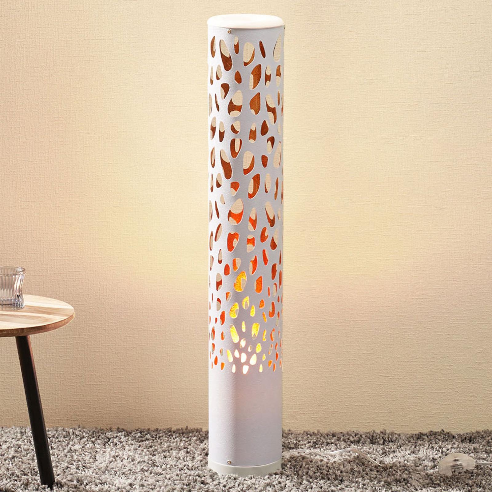 Witte LED vloerlamp Organic met vlamlamp