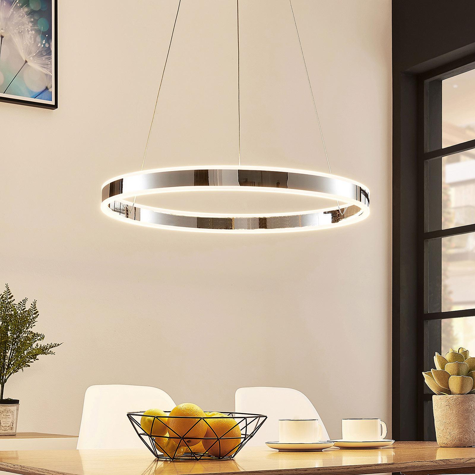 LED-Pendelleuchte Lyani in Chrom, dimmbar, 60 cm