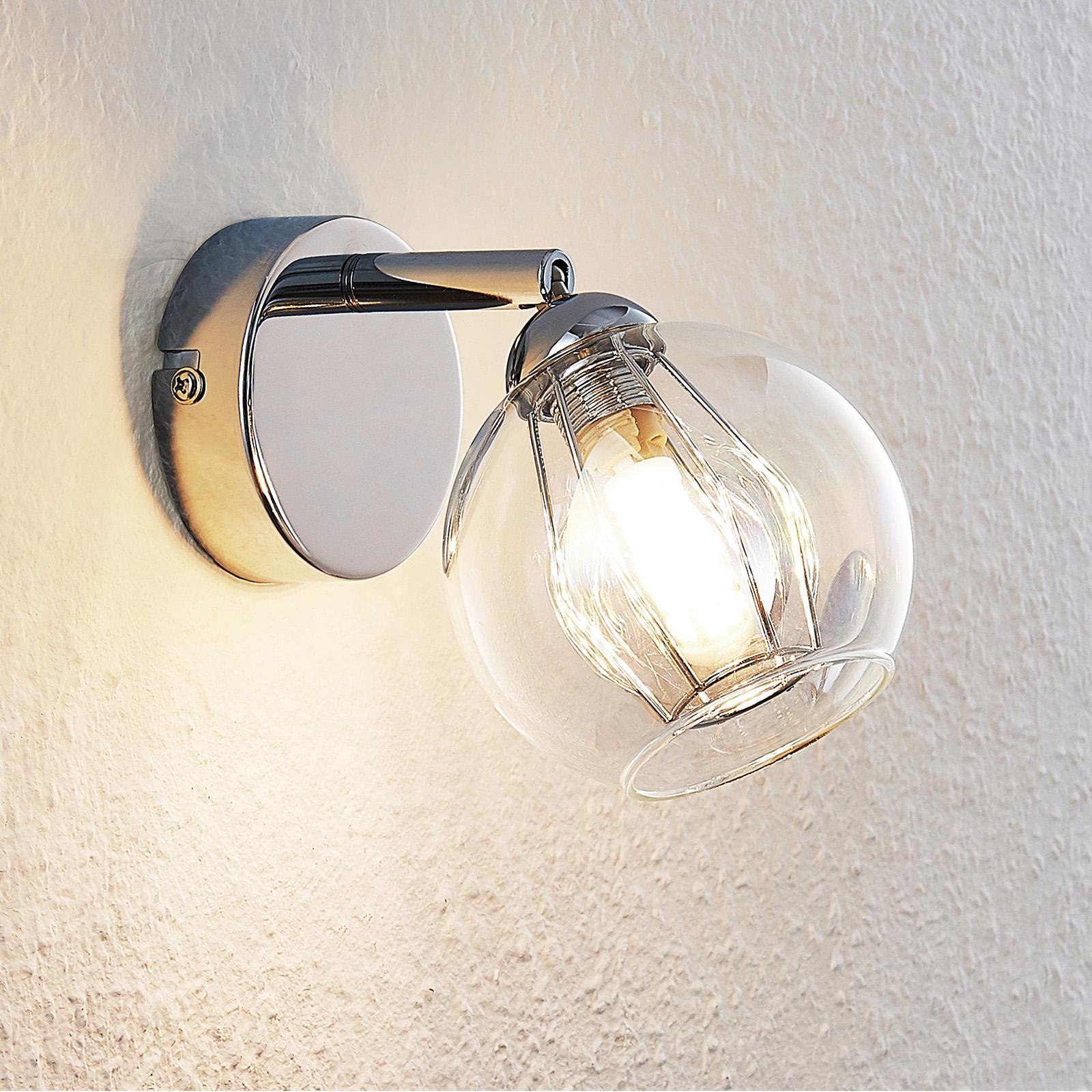Lindby Pranas faretto LED da parete, vetro
