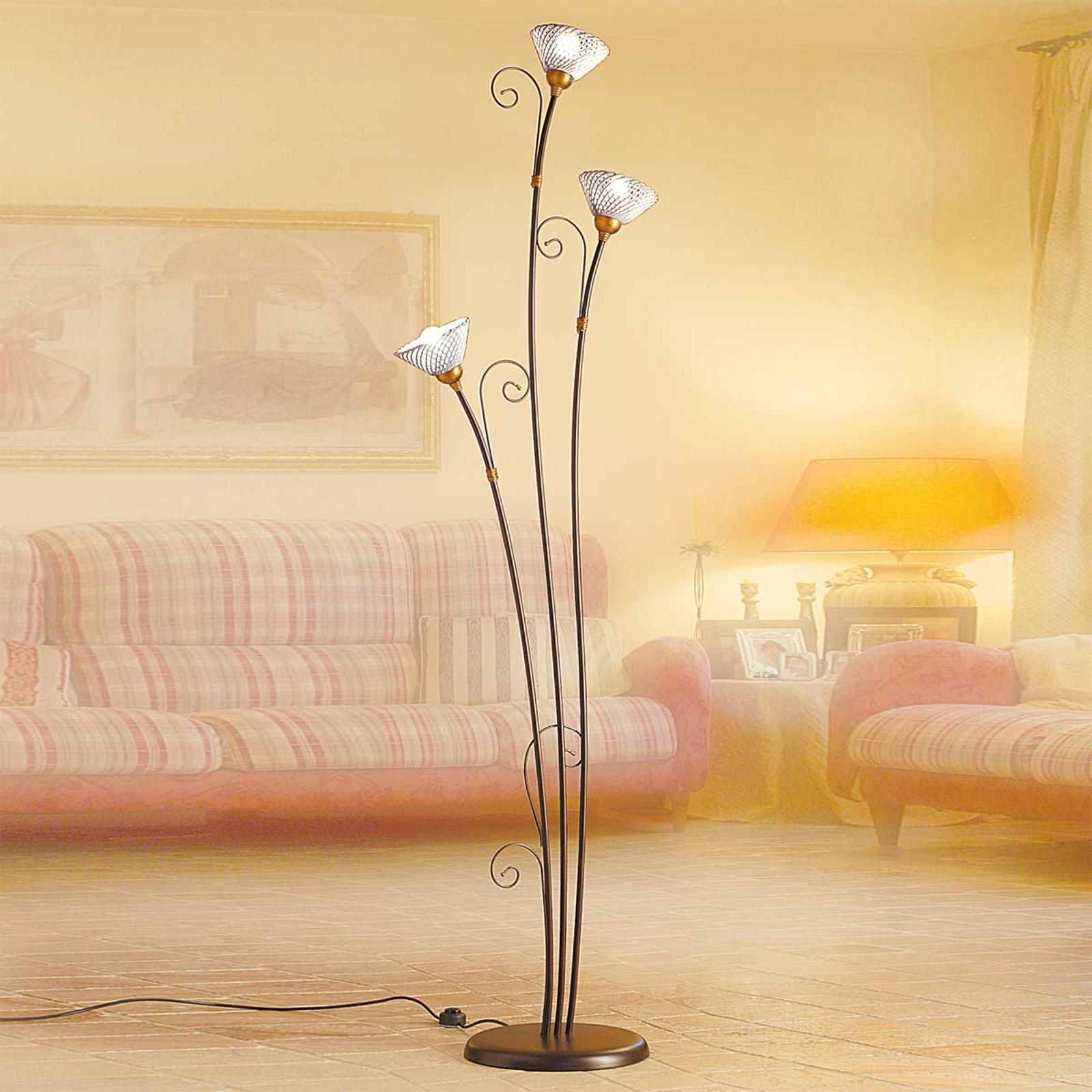 Ædel standerlampe RETINA, med 3 lyskilder