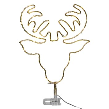 Puntale LED Topsy, testa di cervo a batteria