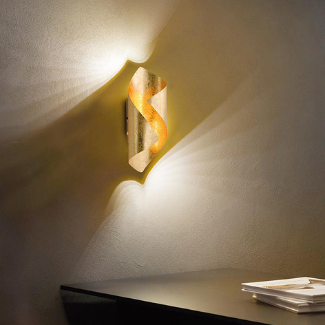 LED-Wandleuchte Nevis, gebogen, gold