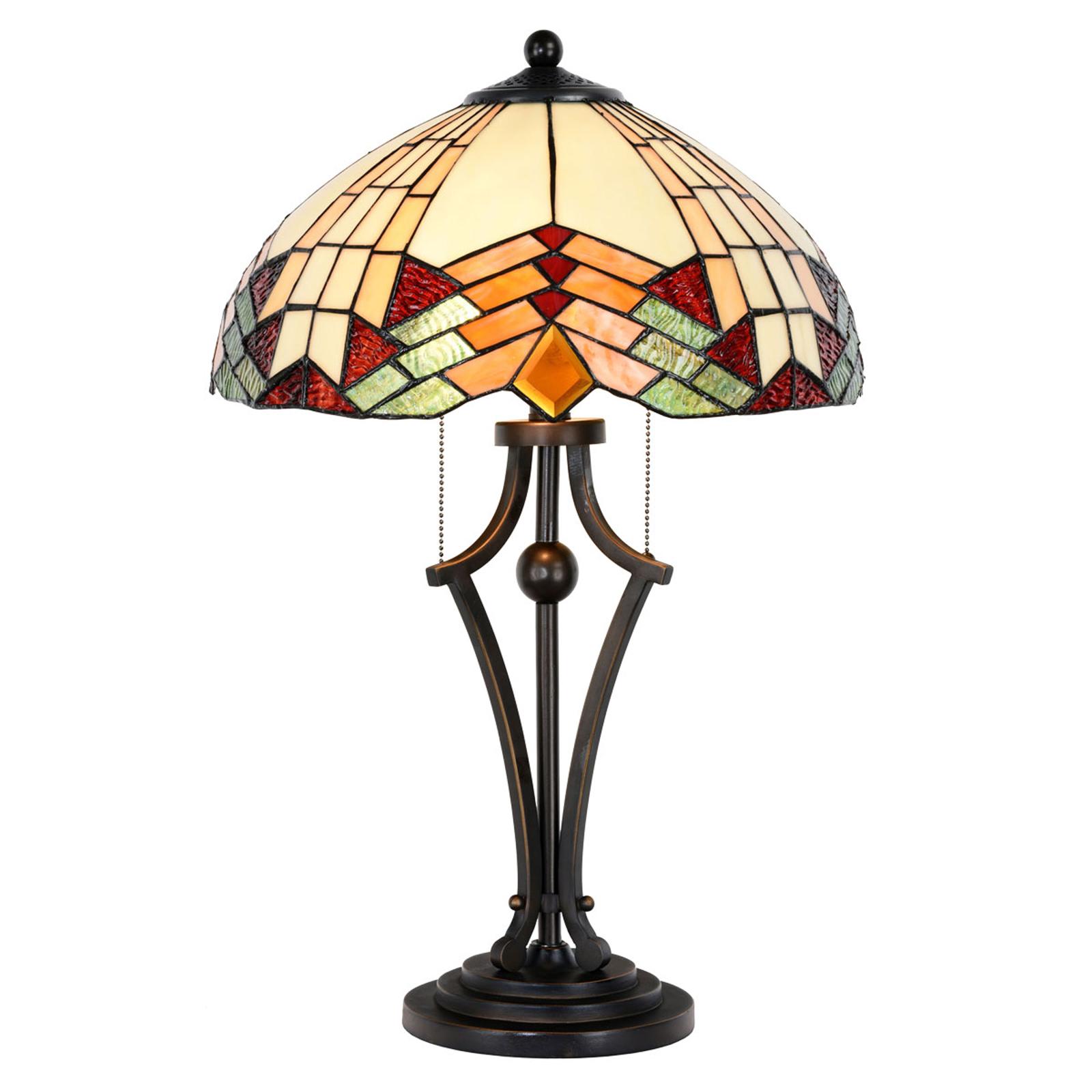 Bordlampe 5961 i tiffanylook med farverigt glas