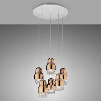 Suspension LED à 6 lampes Fedora rose doré