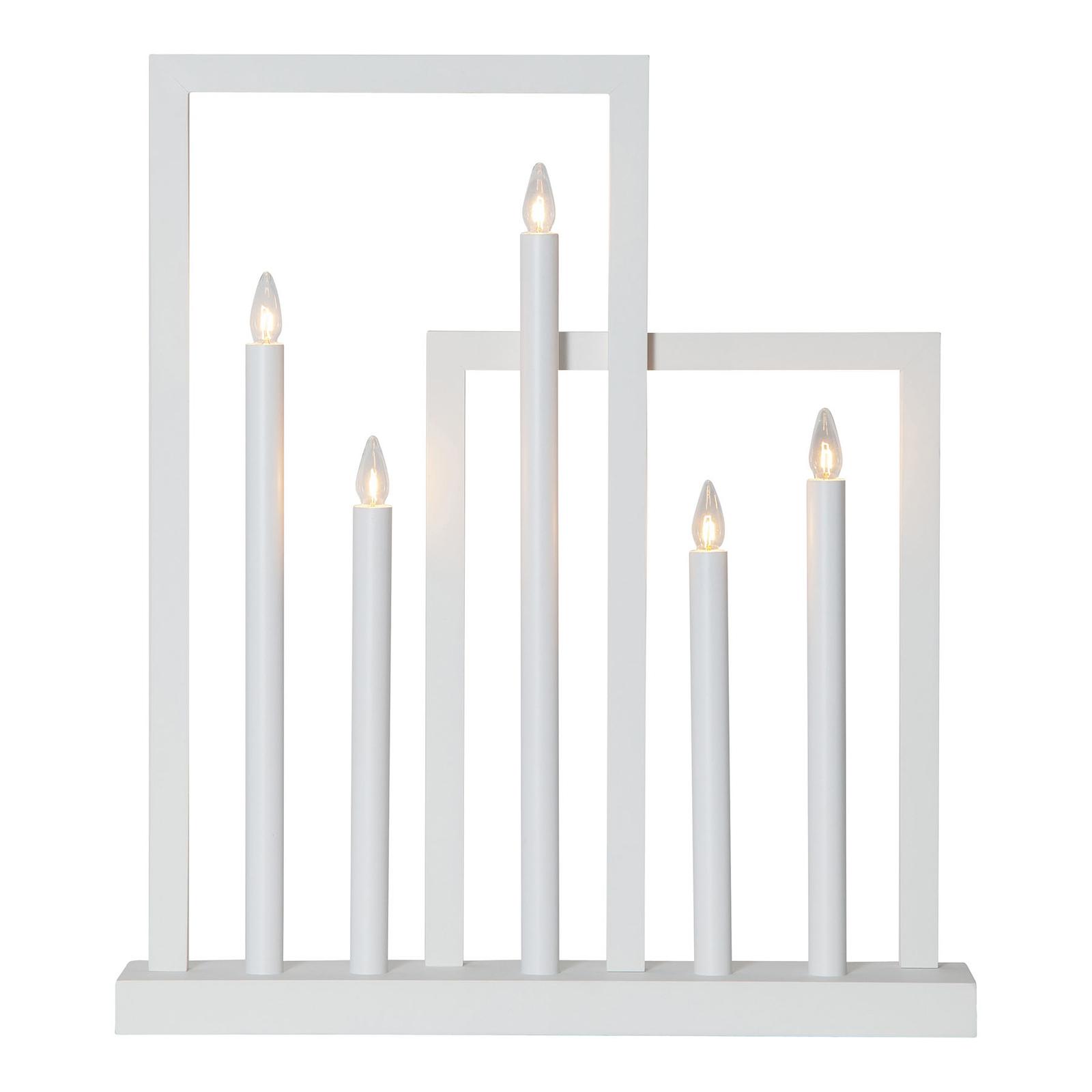 Fensterleuchter Frame aus Holz, 5-flammig