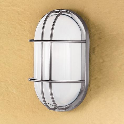 Oval utomhusvägglampa Dana i rostfritt stål