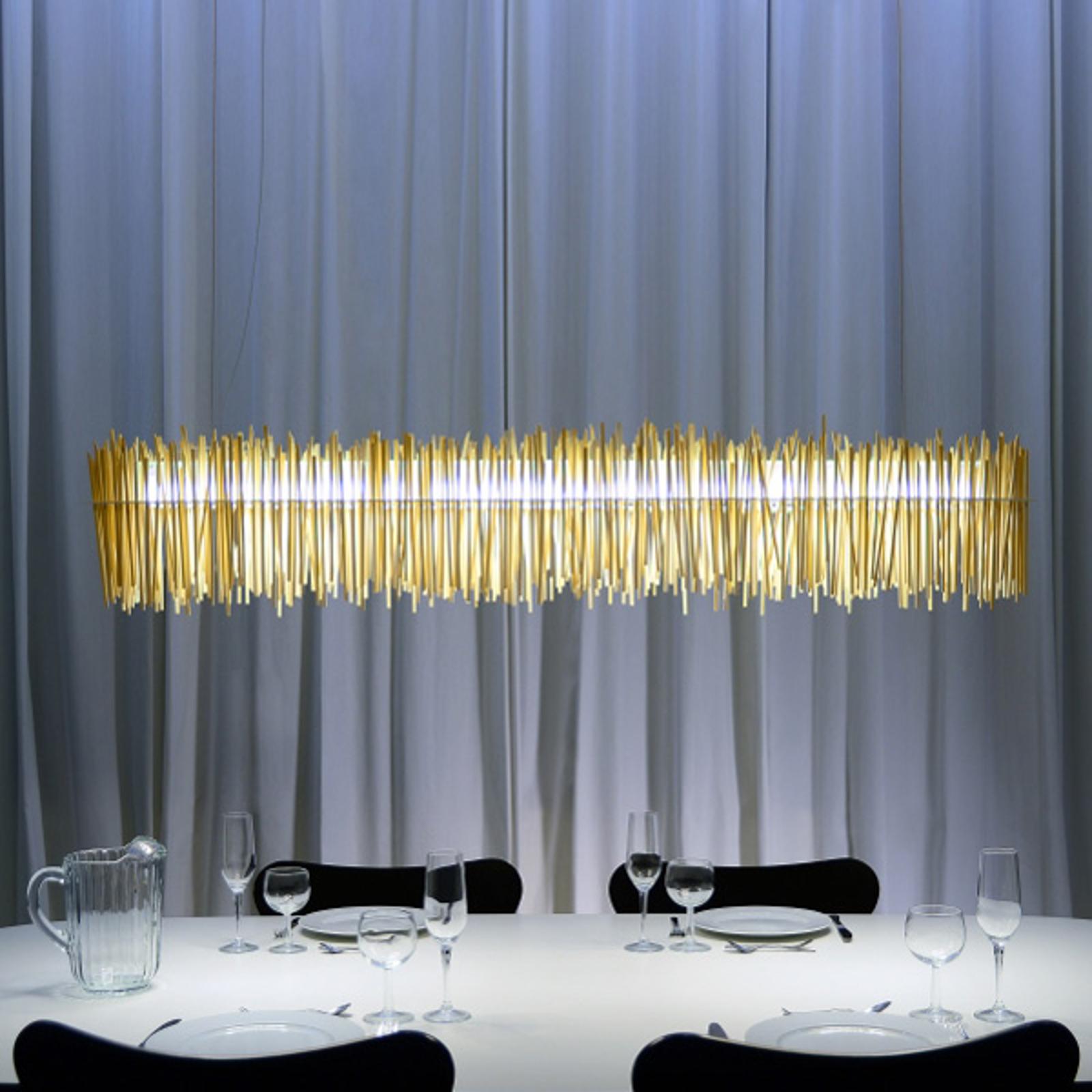 Aus Chopsticks gefertigte LED-Hängeleuchte Hayashi