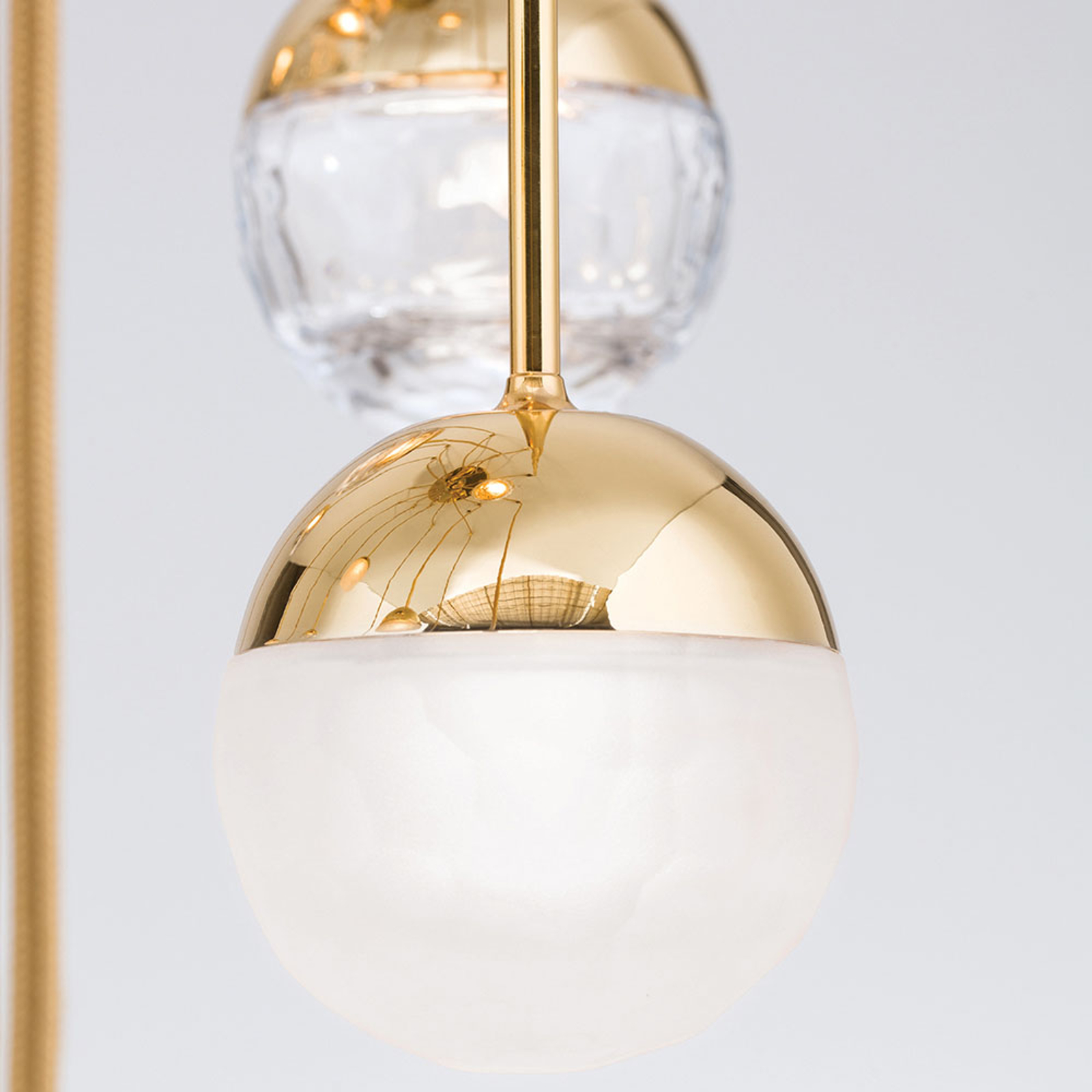 LED hanglamp Ball 15-lamps, goud, decentraal