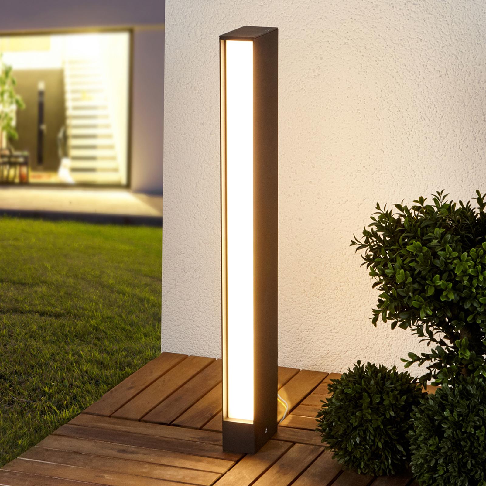 Borne lumineuse LED carrée Holly en gris graphite