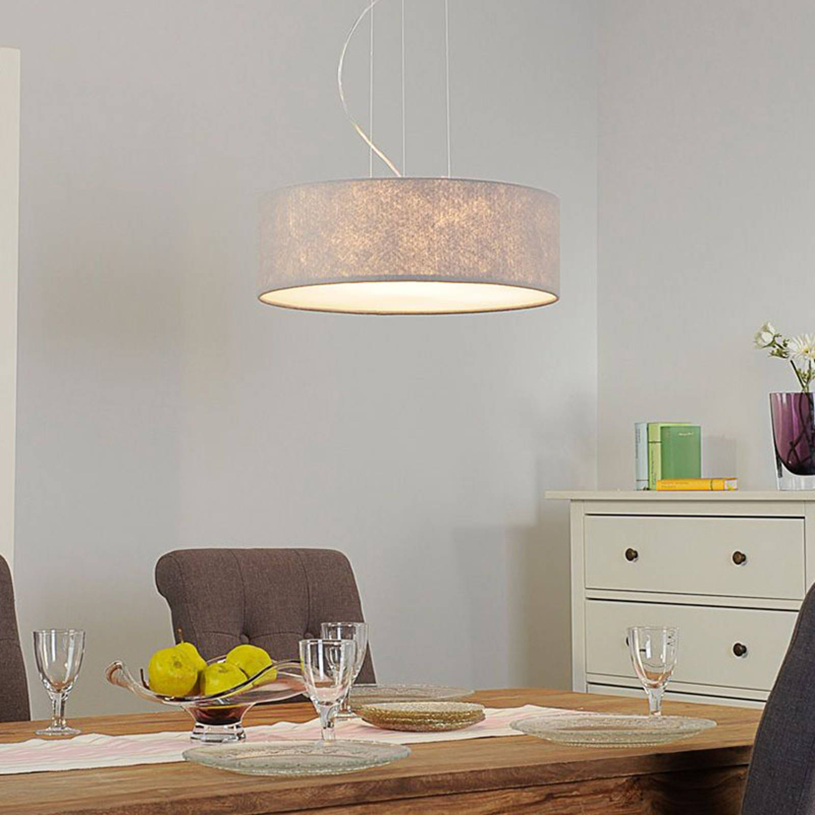 Hanglamp Gala, 50cm, vilten kap grijs