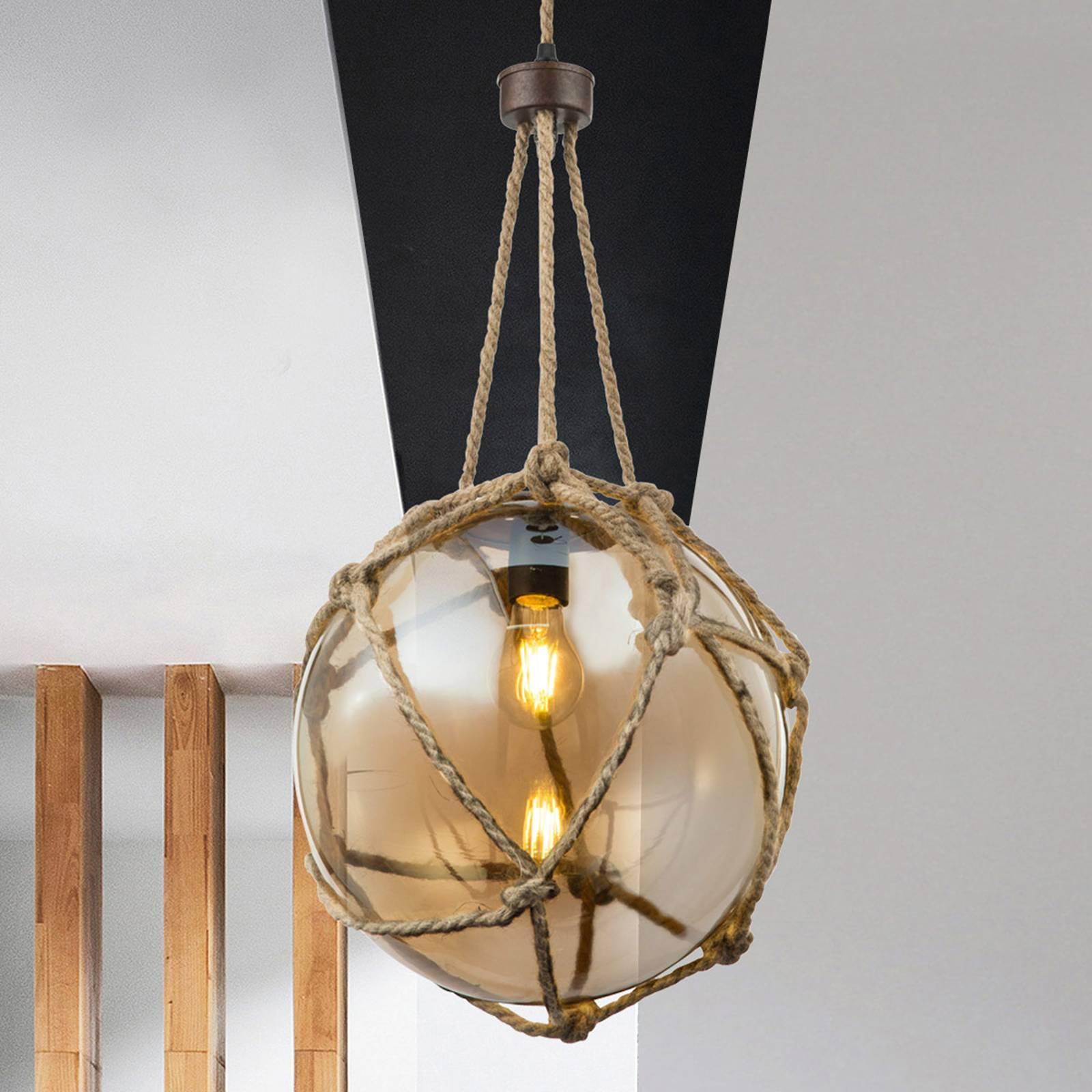 Szklana lampa wisząca Tiko z siatką, rdza Ø 30 cm