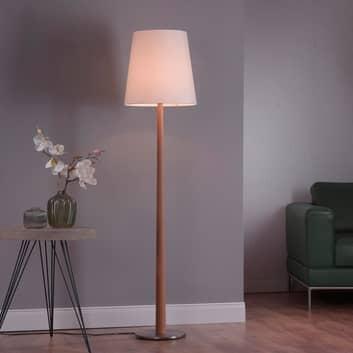 Lucande Elif stojací lampa bílá, kónus, dub