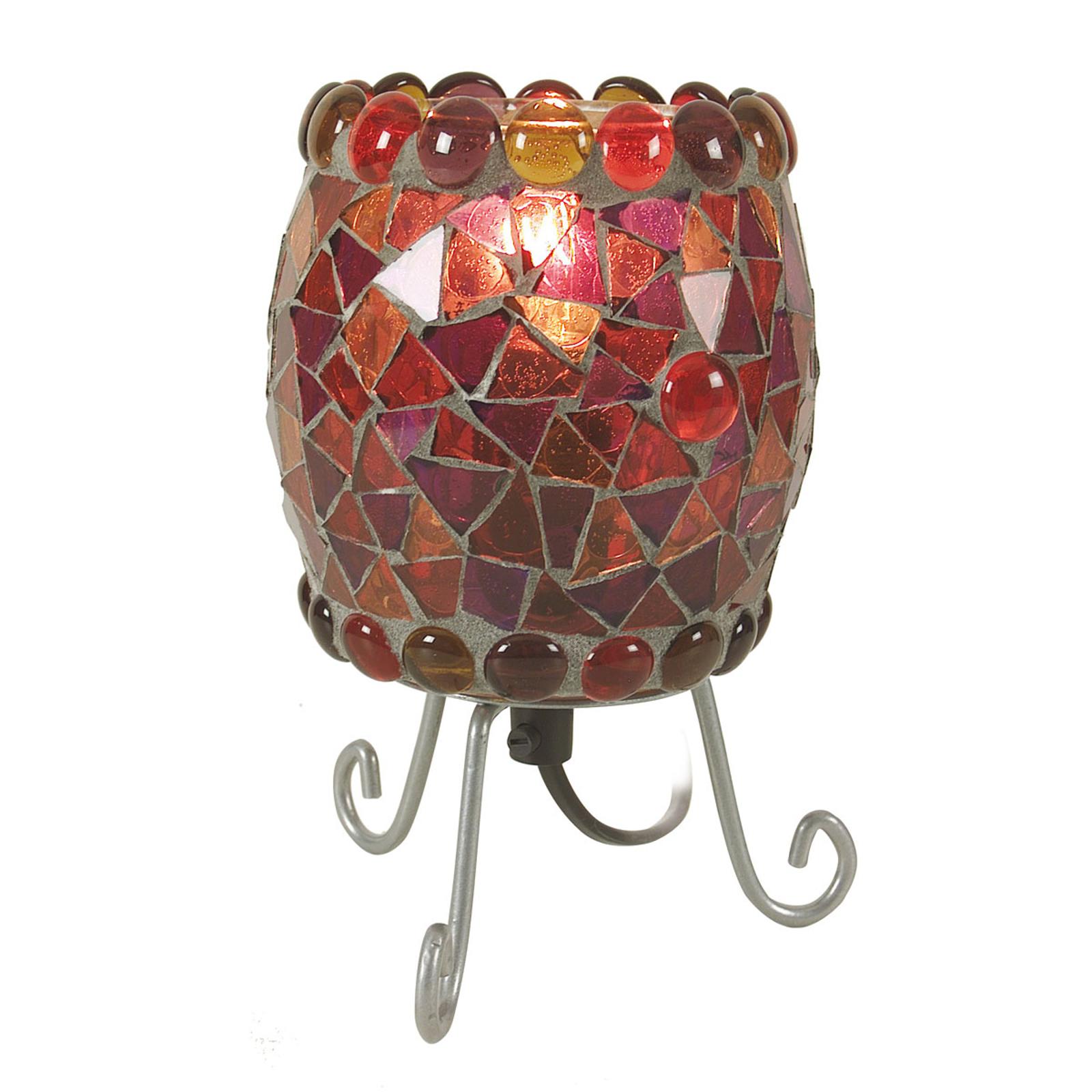 Lampe à poser Enya avec mosaïque de verre rouge