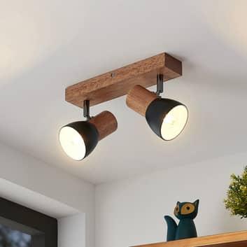 Lindby Tonja faretto da soffitto con legno, 2 luci