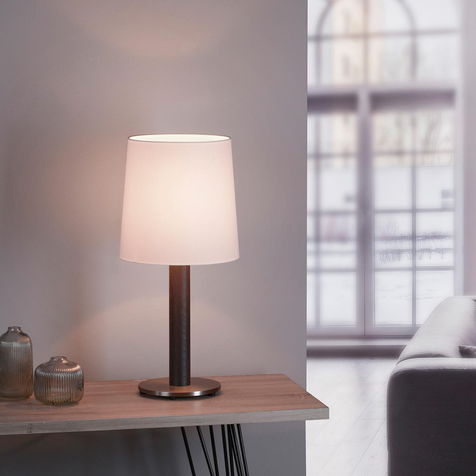 Lucande Elif bordlampe hvit, sylinder mørk eik