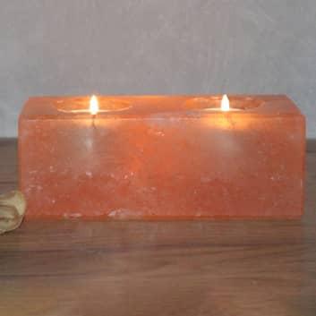 Twin Cube soporte de luz de té de cristal de sal
