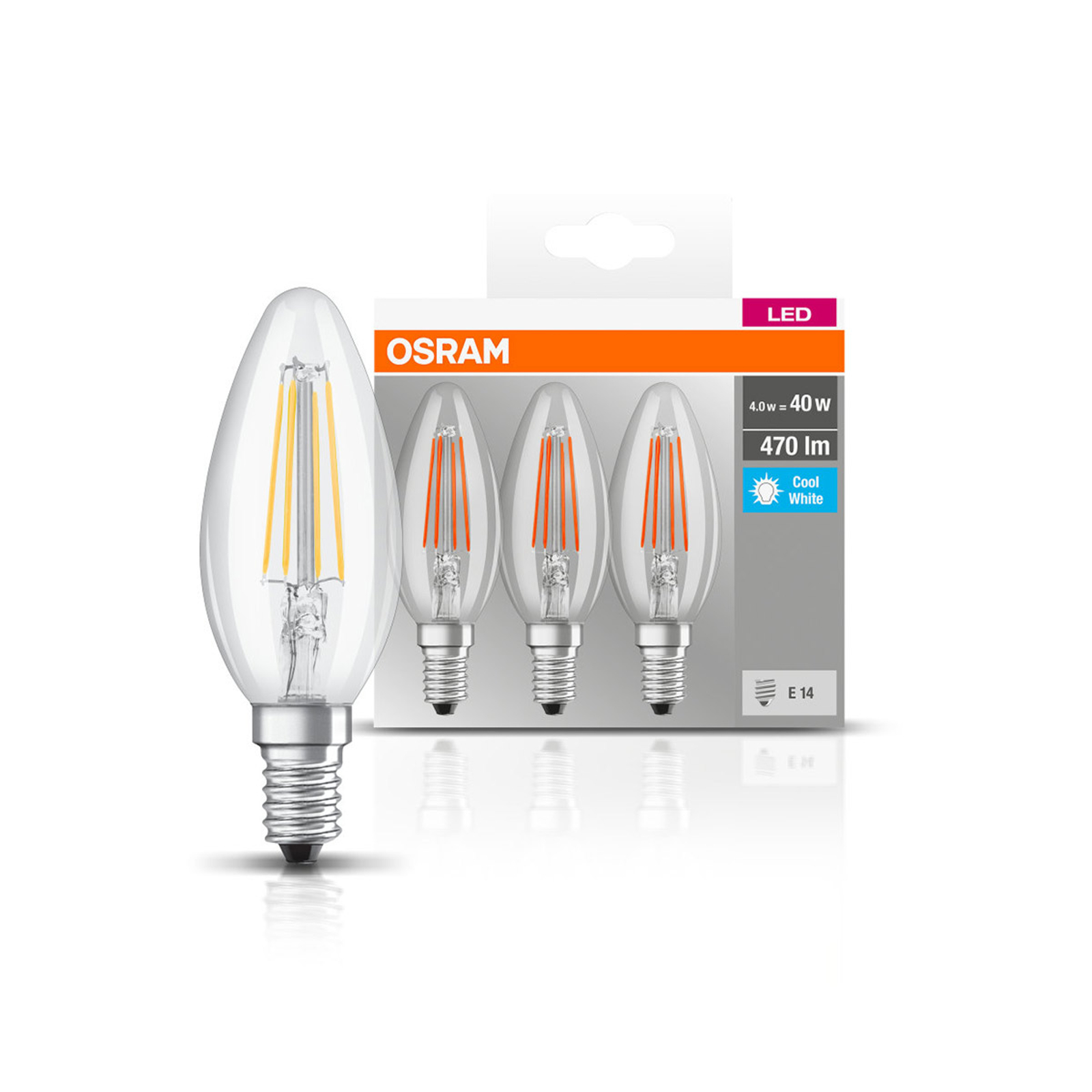 OSRAM LED-Kerze E14 4W Filament 4.000K 470lm 3er