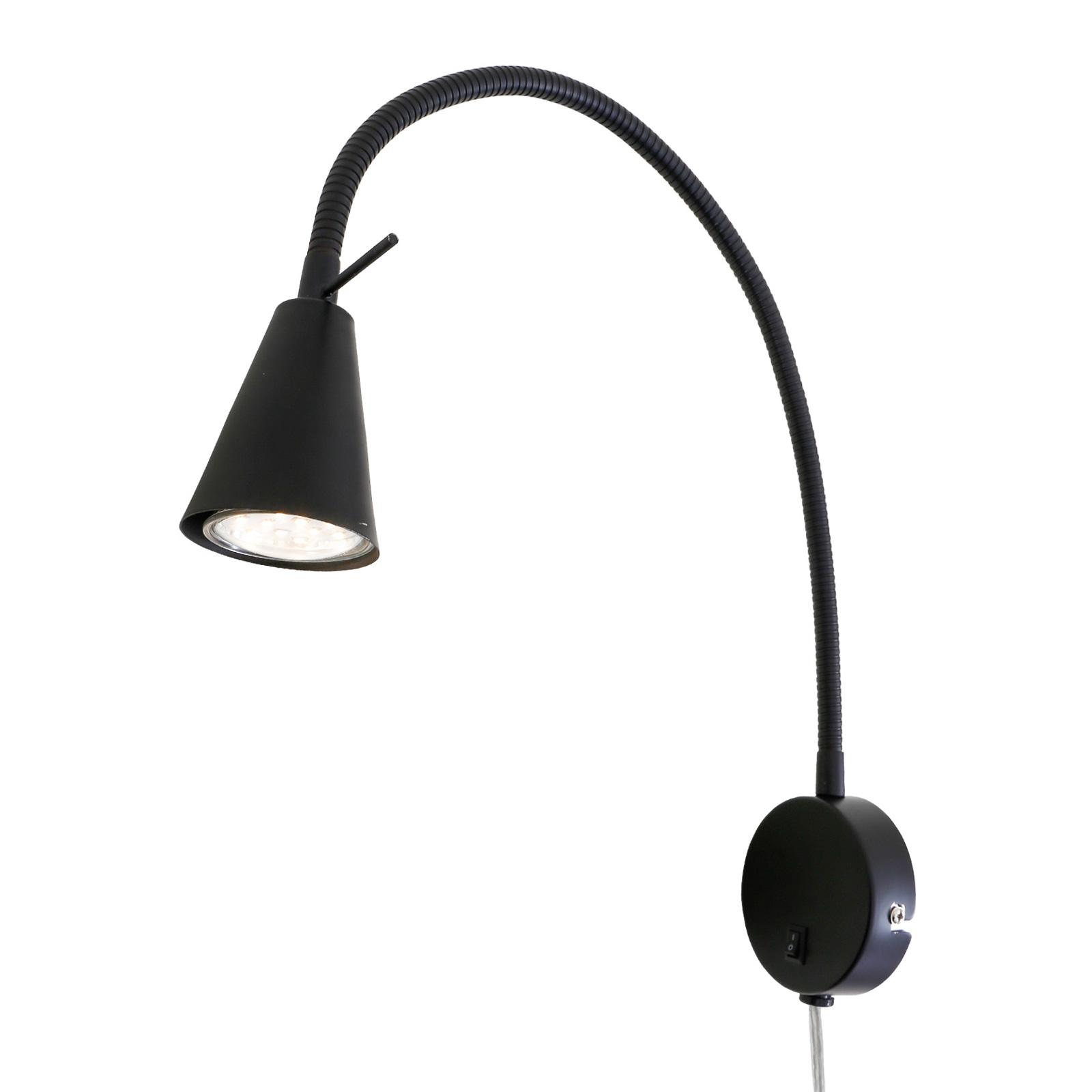 LED-vegglampe 2082 med veggelement, svart