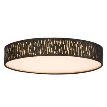 Rund LED-taklampa Tuxon i svart-guld