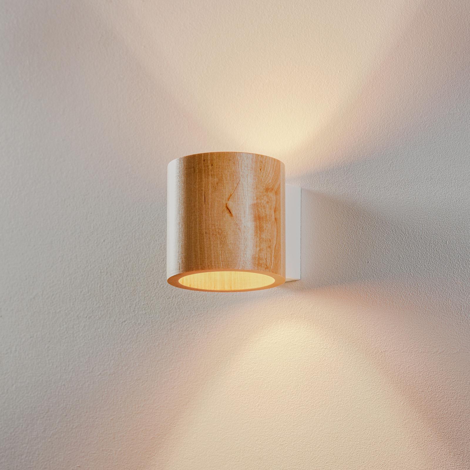 Wandleuchte Ara als Zylinder aus Holz