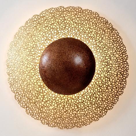 Wandlamp Utopistico Circa, goud-bruin