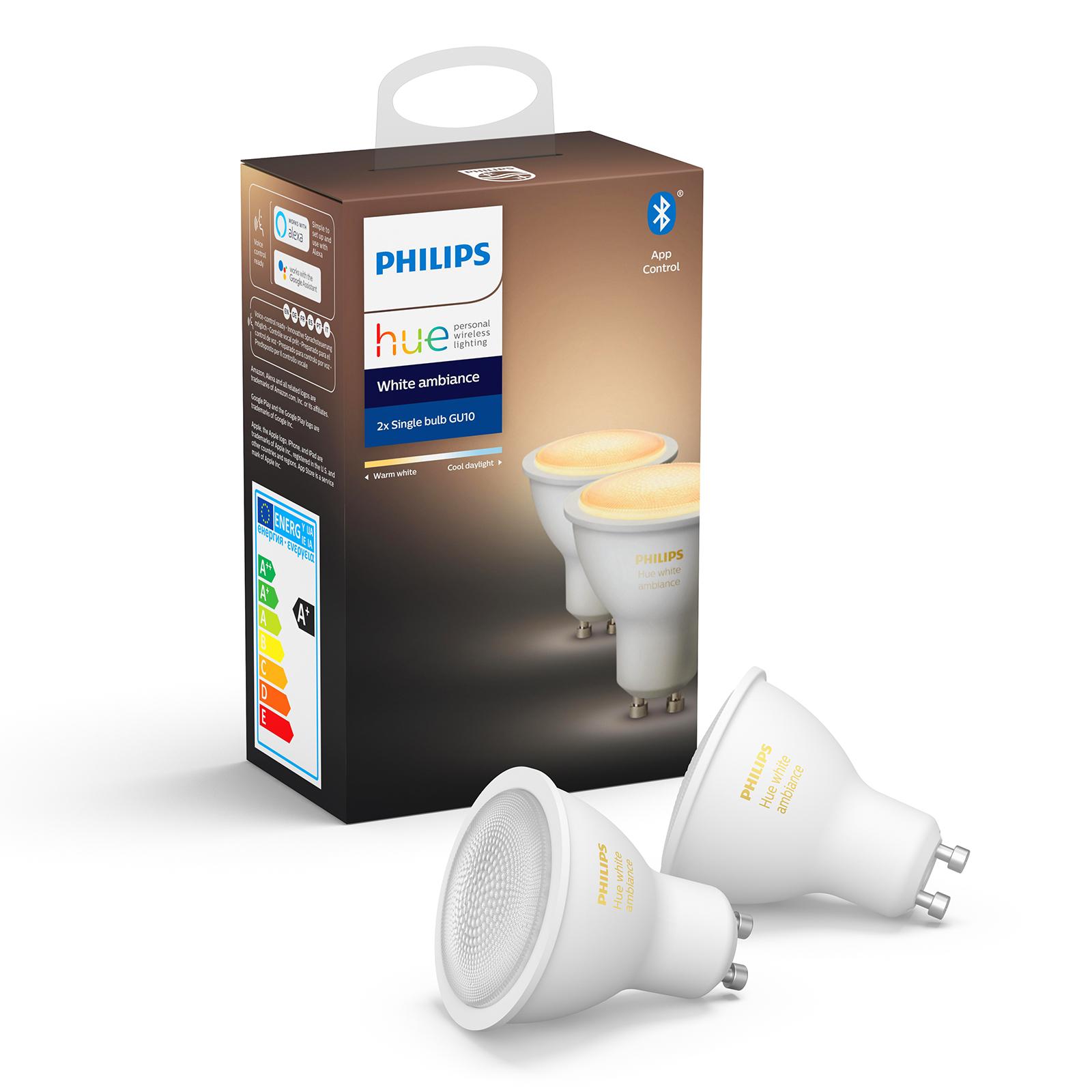 Philips Hue White Ambiance 5 W GU10 LED, set de 2