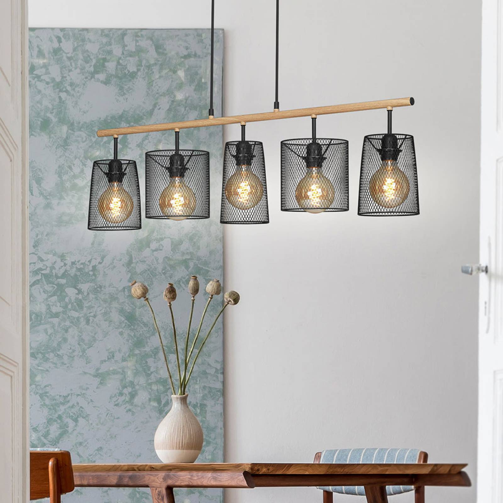 Suspension Retro à 5 lampes, bois clair/noire