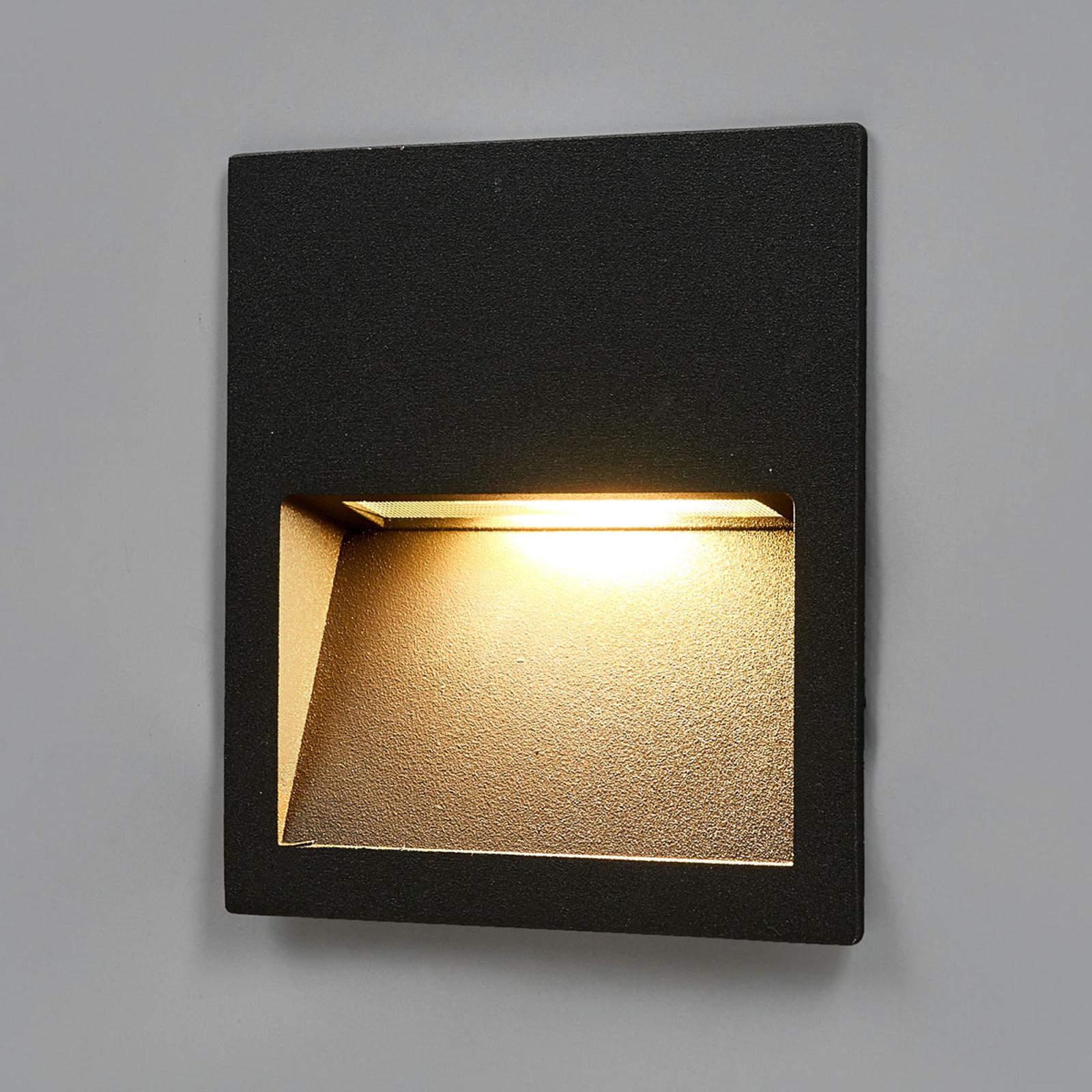 Kvadratisk LED-væglampe Loya, indbygning udendørs