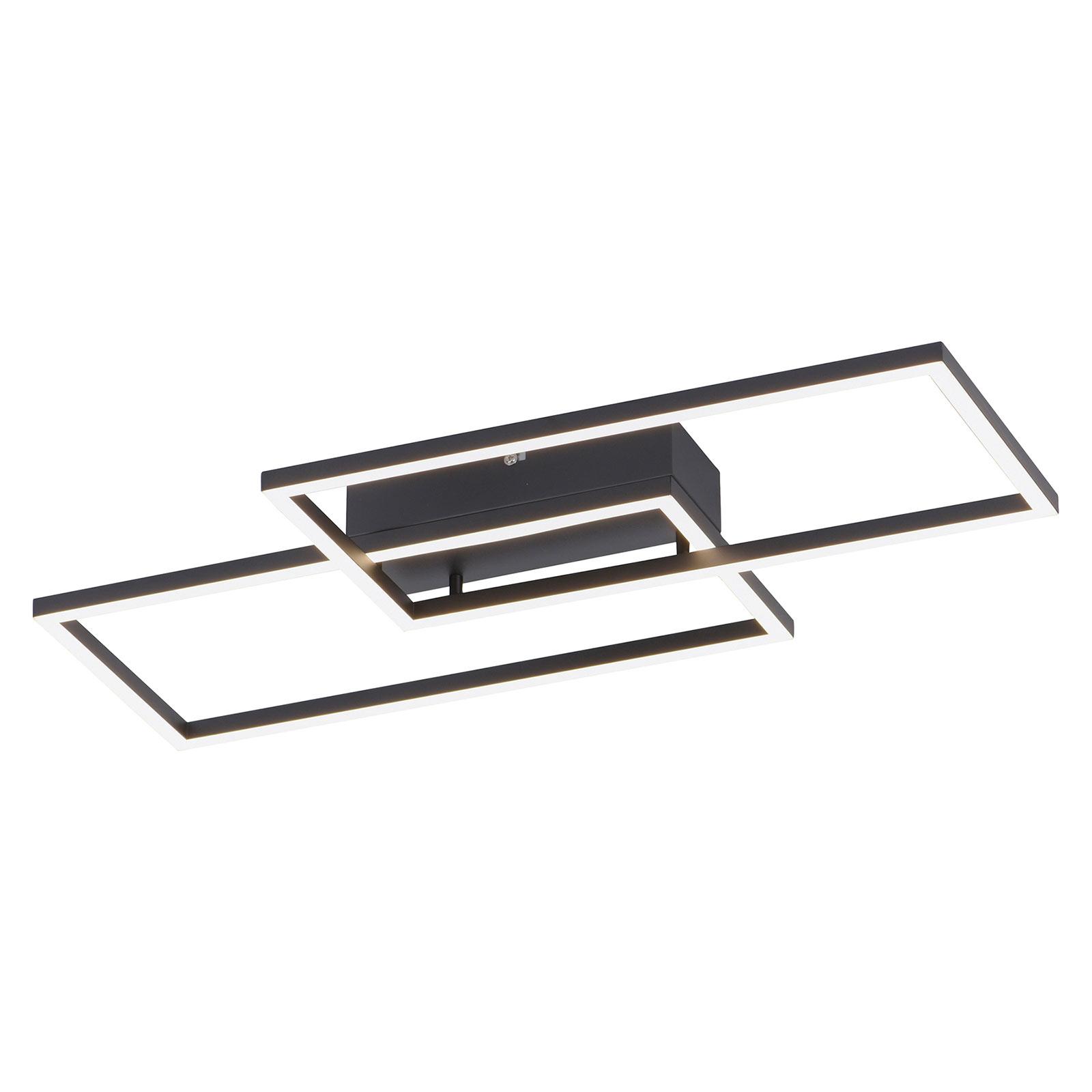 Iven LED-loftlampe, sort, 2 lyskilder rektangulær