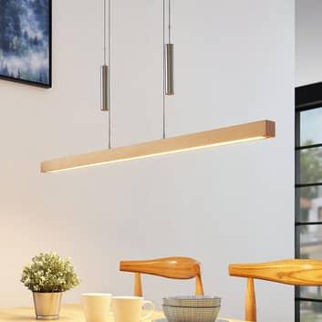 Lámpara colgante LED lineal Pia, madera de haya