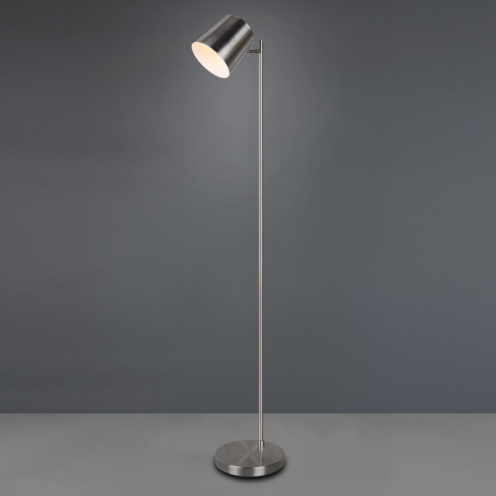 LED vloerlamp Blake met accu, dimbaar, nikkel