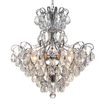 Lucande Linora hanglamp met kristal, chroom
