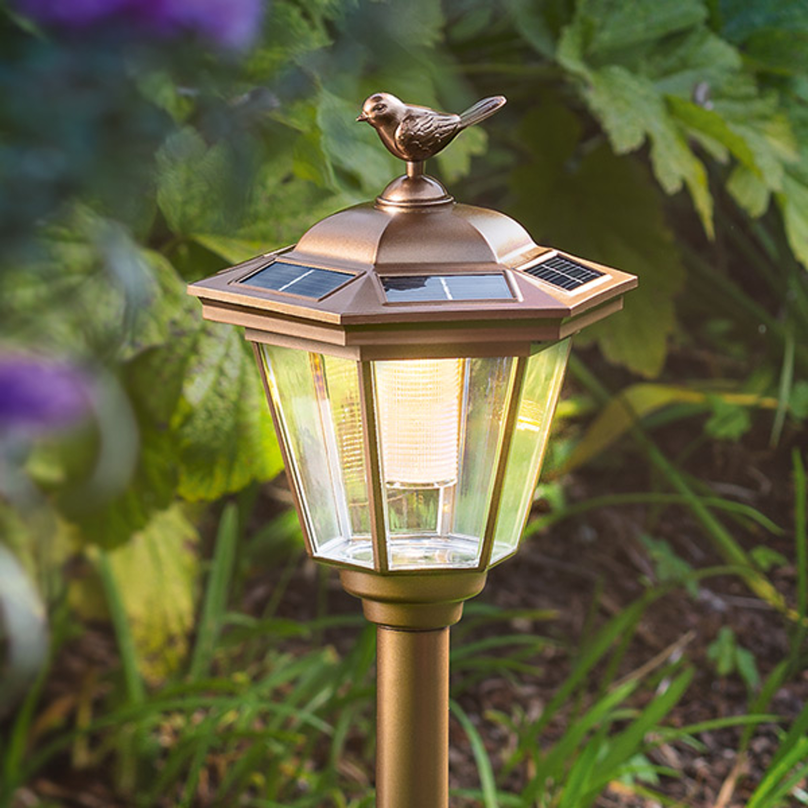 Solar LED-grondspieslamp Tivoli in koperlook