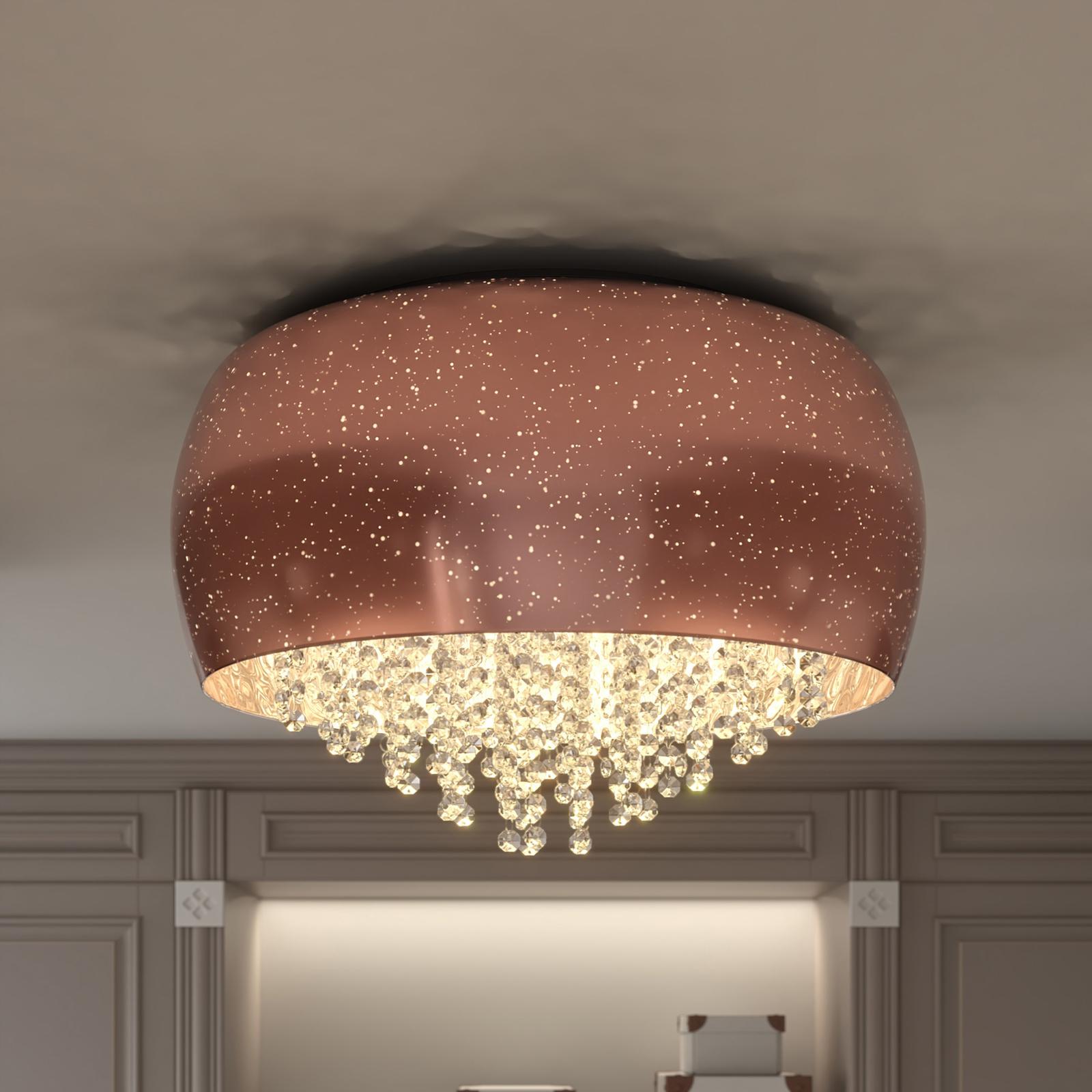 Lucande Elinara krystall-taklampe, 6 lys kobber