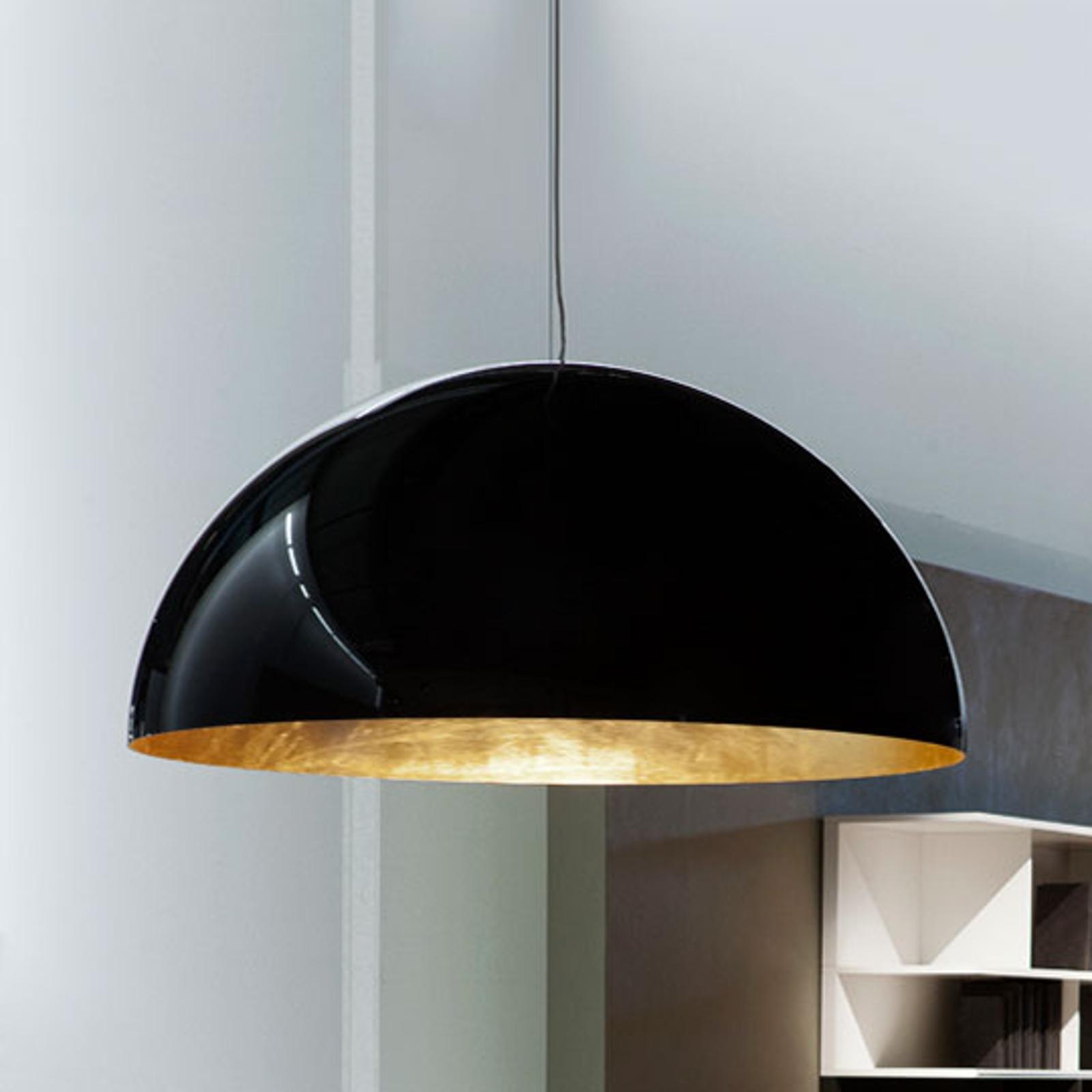 Oluce Sonora - halfronde hanglamp zwart-goud
