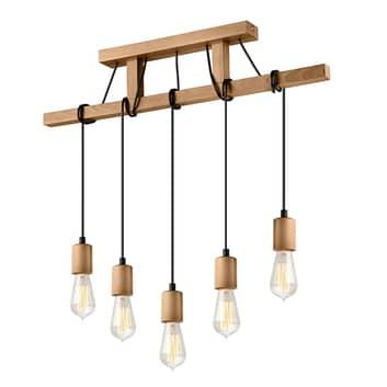 Lampa wisząca Tyske z drewna, 5-punktowa, oliwkowa