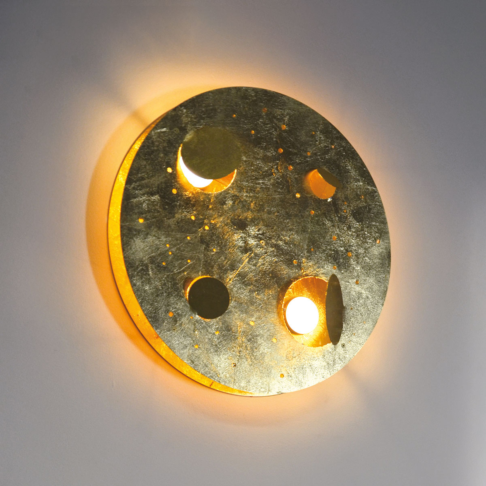 Knikerboker Buchi LED wandlamp Ø 40cm bladgoud