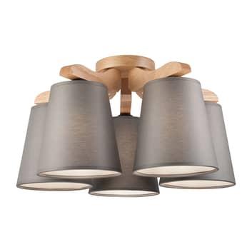 Plafón Hora, roble/gris 5 luces