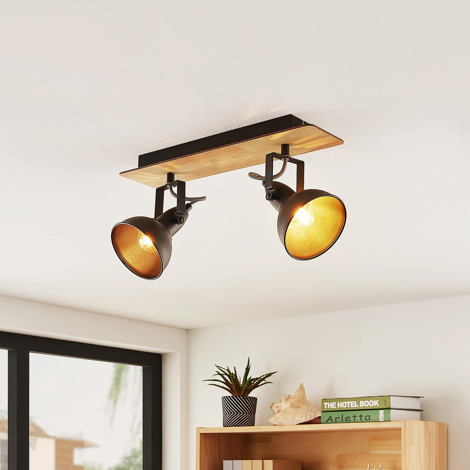 Lindby Aylis ceiling lamp, black, wood, two-bulb_9626217_1