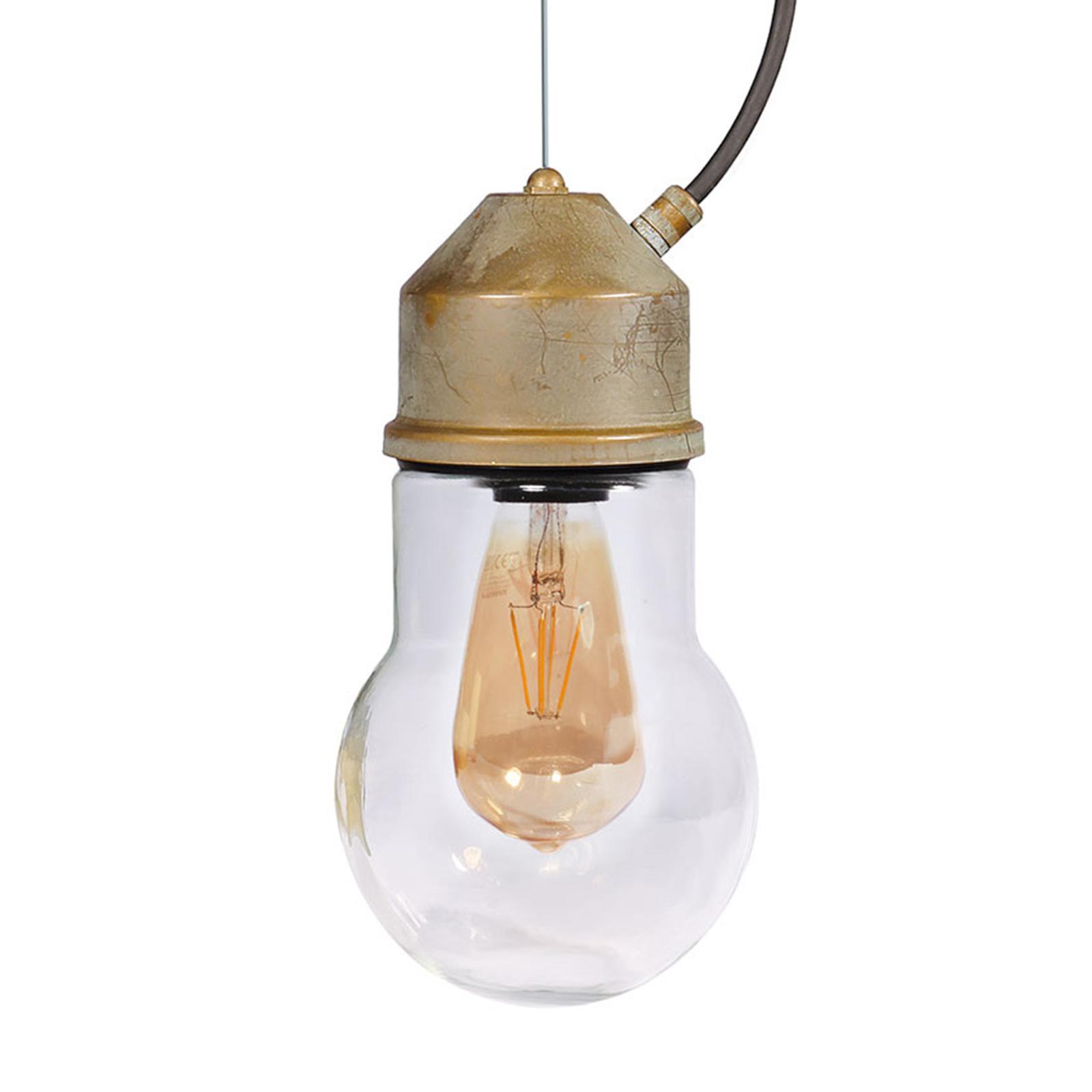 Hanglamp 1951N messing antiek, glas gewelfd helder