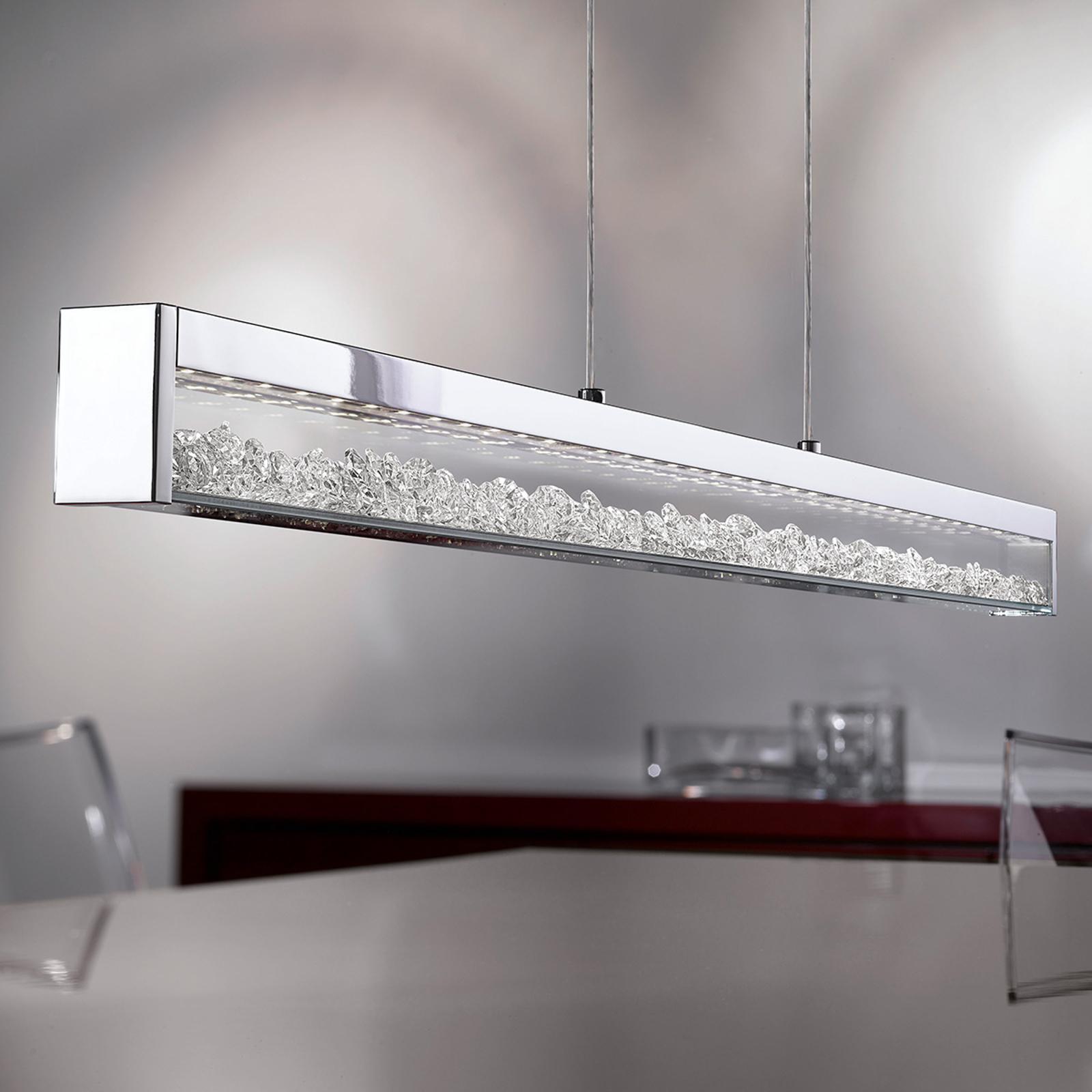 Lampada LED sospesa Cardito cristallo Asfour 100cm