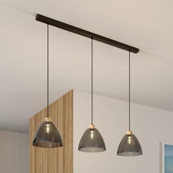 Lámpara colgante Dasha, 3 luces, vidrio gris humo