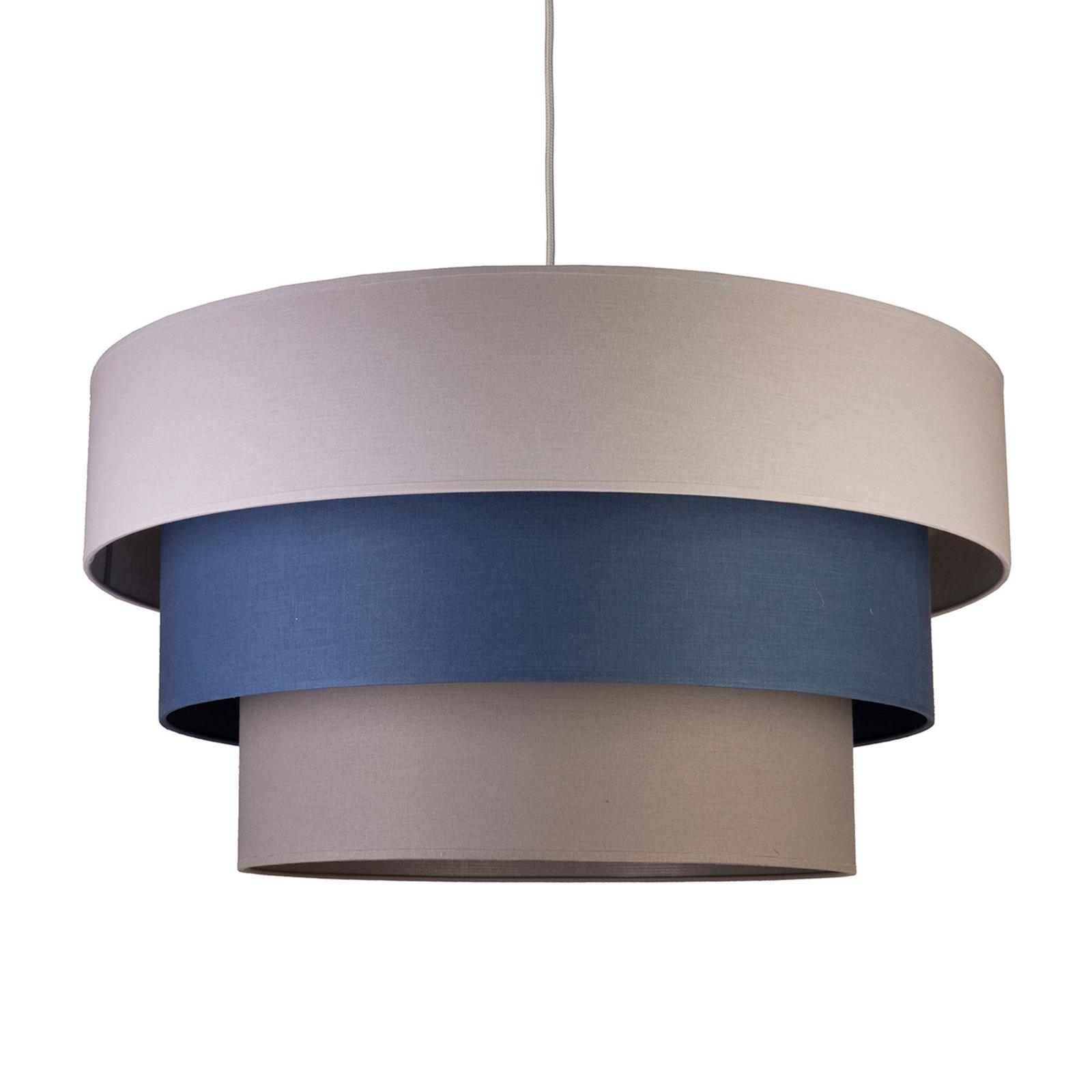 Lampada sospensione Luneta, tessuto grigio/blu