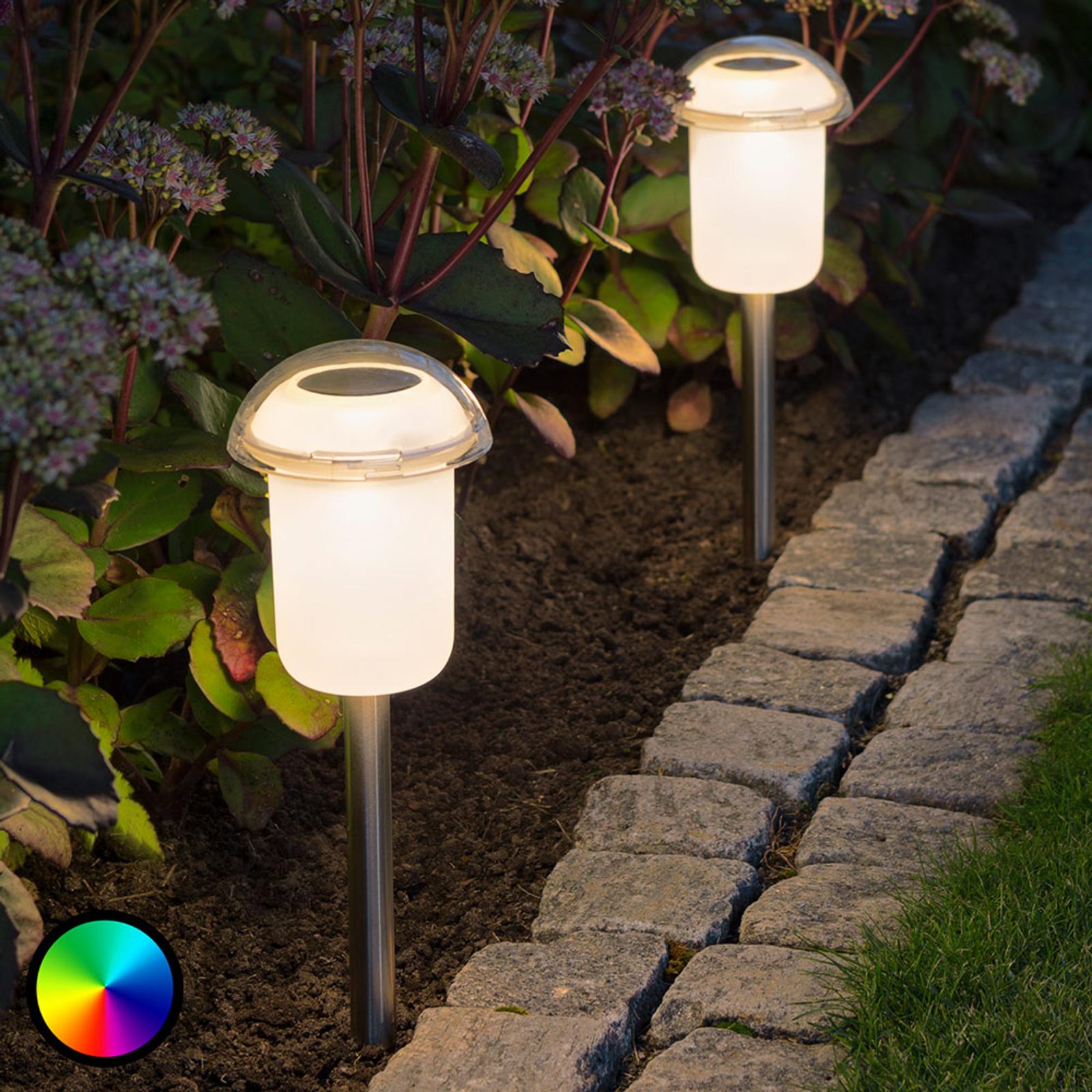 LED-Solarlampe Assisi, 2er Pack Erdspieß abnehmbar