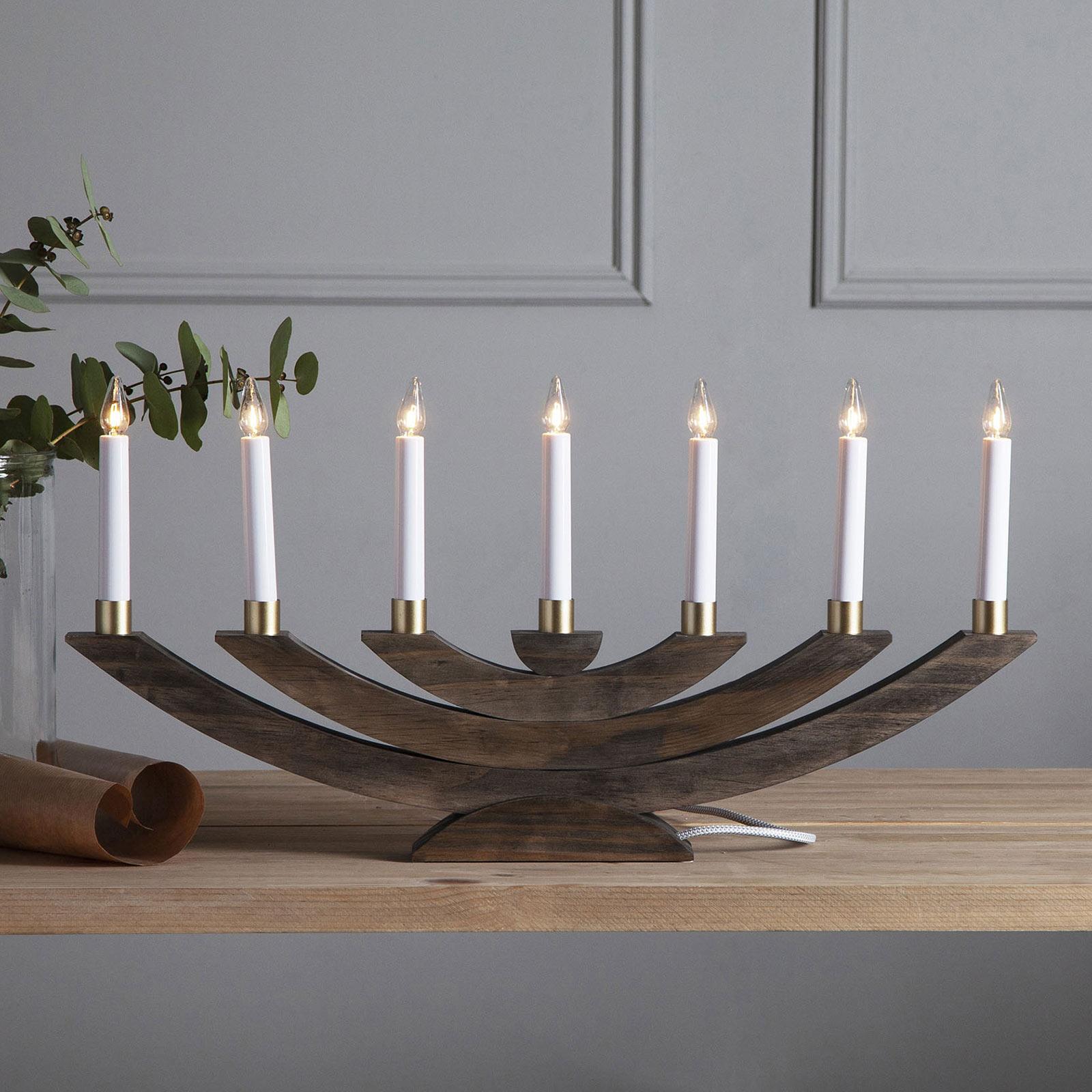 Läs mer om Fönsterljusstake Navida, trä, 7 lampor, brun