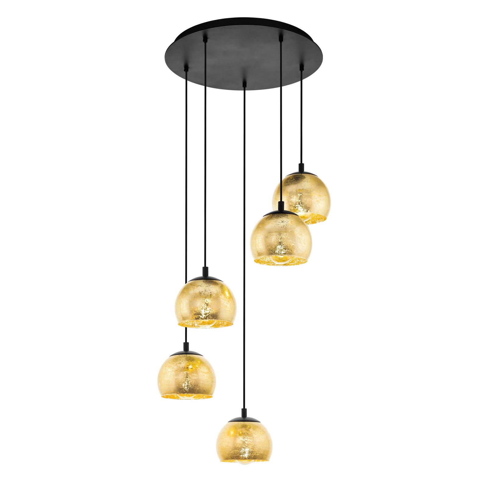 Lampa wisząca Albaraccin z pięcioma kloszami złota