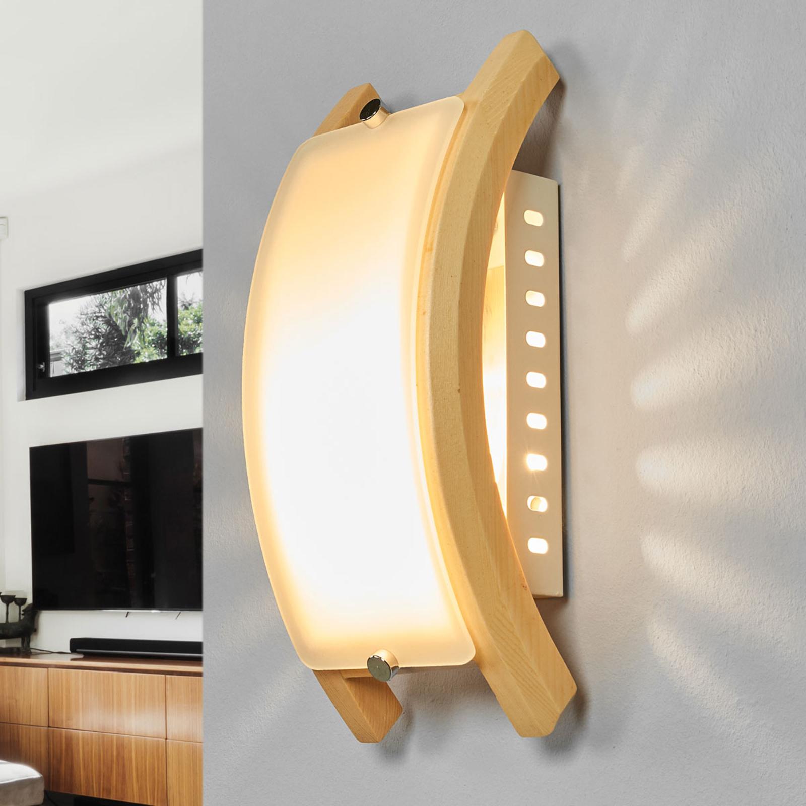 Nástěnné svítidlo ADMIRAL, E14 dřevo světlé
