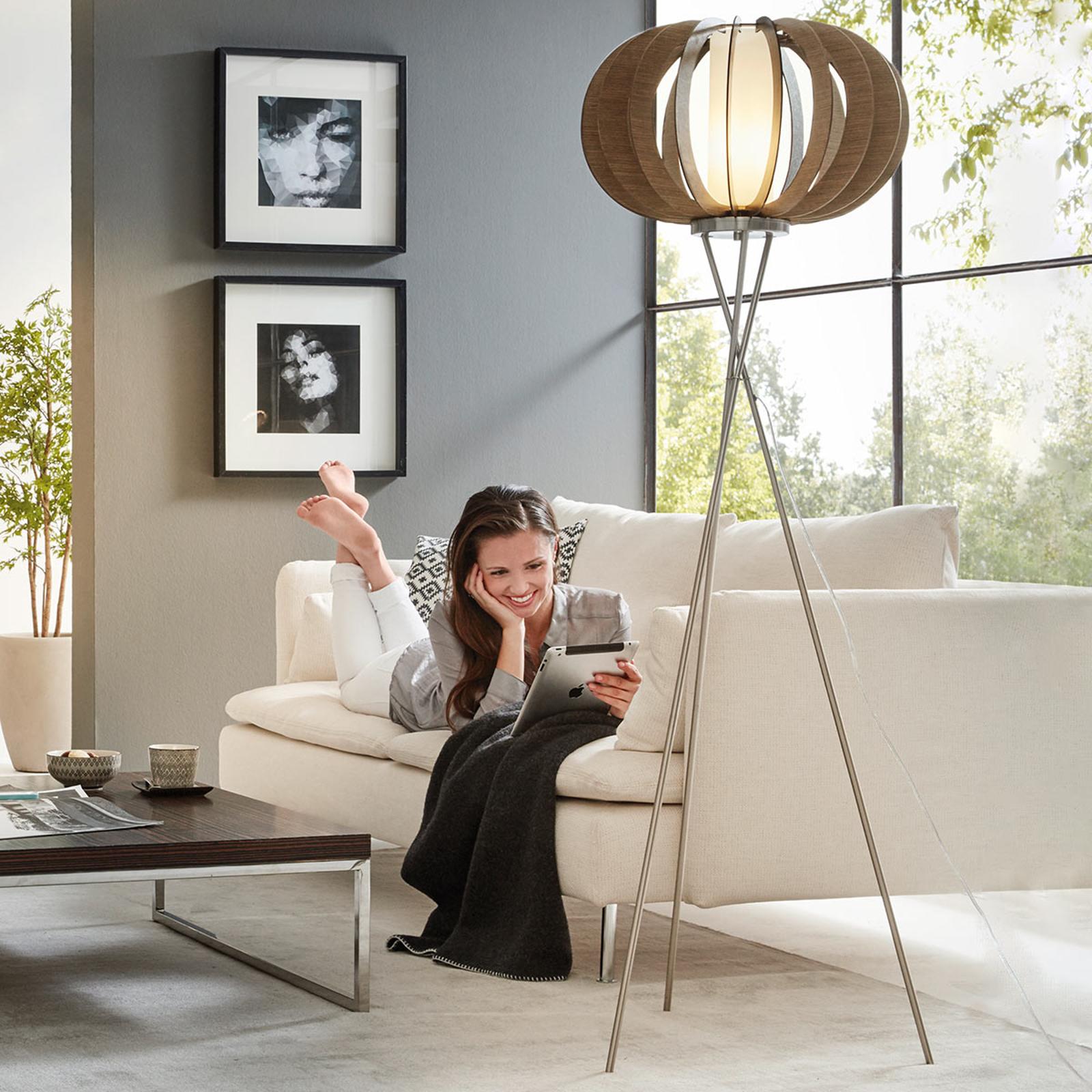 Effectieve vloerlamp Stellato met houten latten