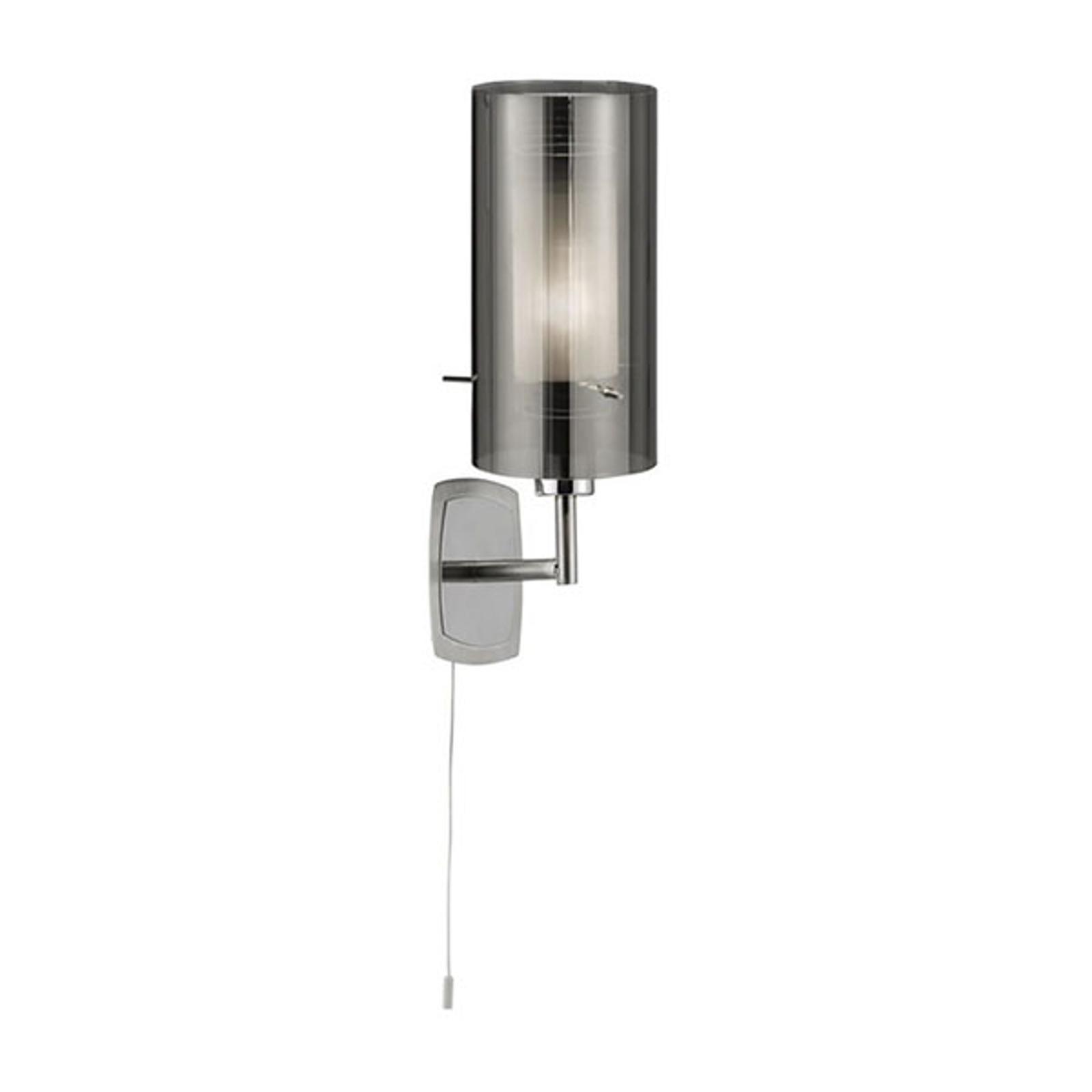 Wandlamp Duo 2, rookglas/chroom met schakelaar
